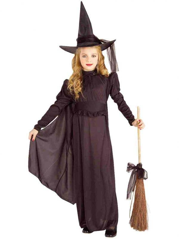 Girl's Classic Black Witch Halloween Fancy Dress Costume