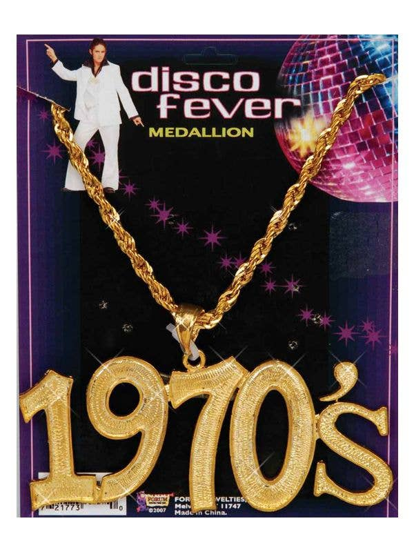 70s Disco Fever Gold Necklace Costume Accessory - Main Image