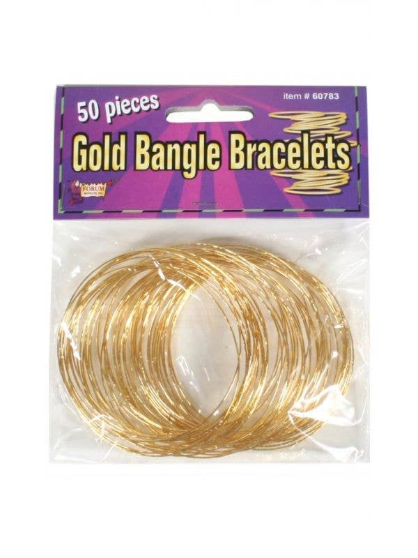 pack of 50 gold bangle bracelets disco 70s women's costume accessories main image