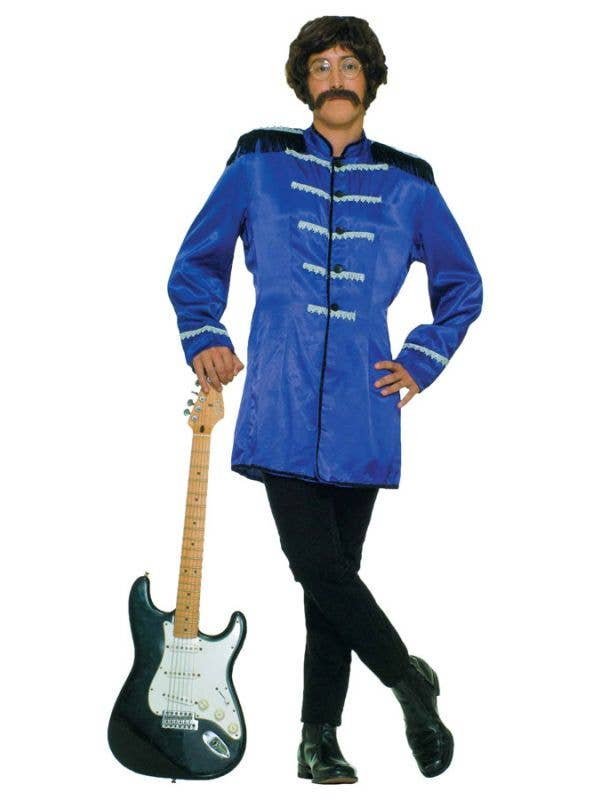 Men's Seargeant Peppers Lonely Hearts Club Band 1960s Blue Beatles Fancy Dress Costume Main Image