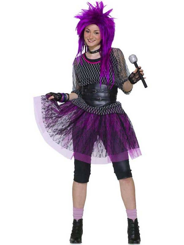 Pop Star Girlu0027s 1980u0027s Teen Fancy Dress Costume Front  sc 1 st  Heaven Costumes : kids pop star costume  - Germanpascual.Com
