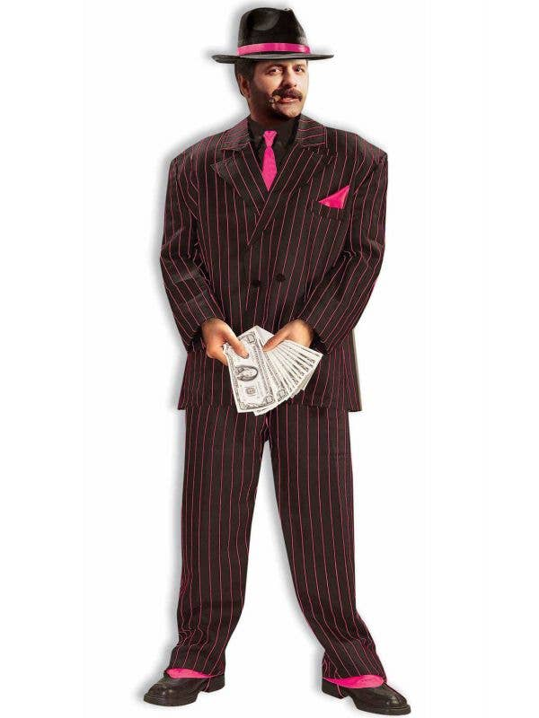 Mens Black and Pink Pinstripe 1920s Gangster Suit - Main Image