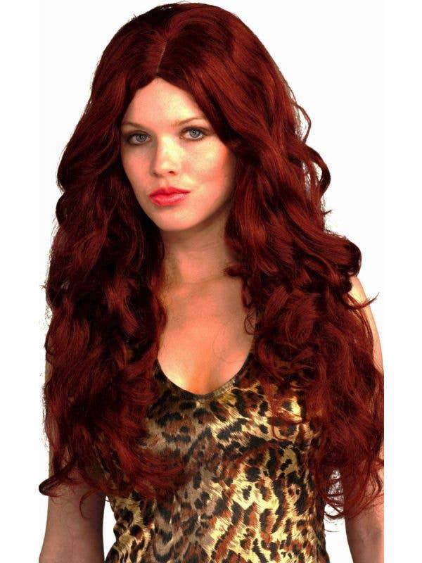 Foxy Bombshell Women's Curly Dark Red Wig Main Image