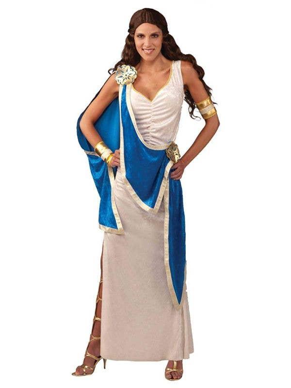 Greek Goddess Women's White Blue Gold Toga Fancy Dress Costume Front