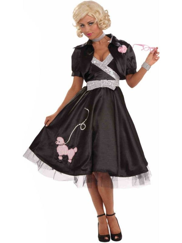 Women's Black 50's Poodle Skirt Fancy Dress Costume Front View