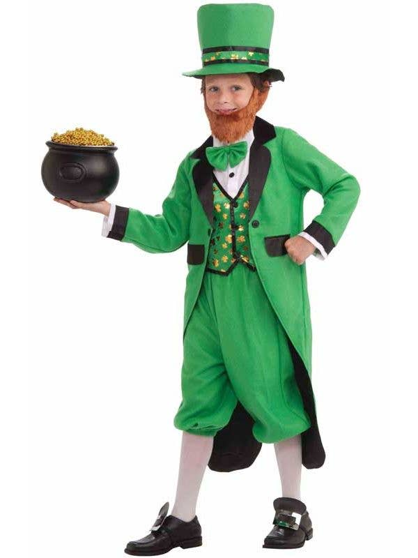 Irish Boy's Green Leprechaun Fancy Dress Costume Front View