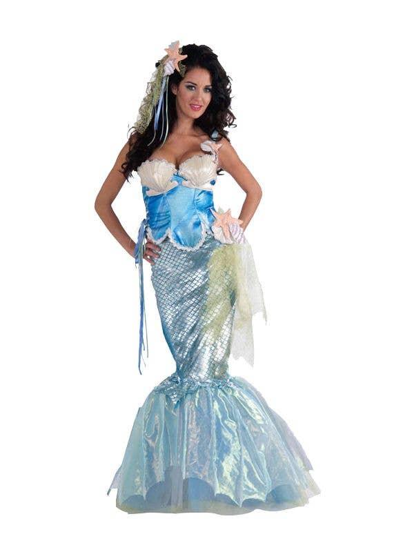 Mermaid Women's Mythical Costume Metallic Blue Fancy Dress Front