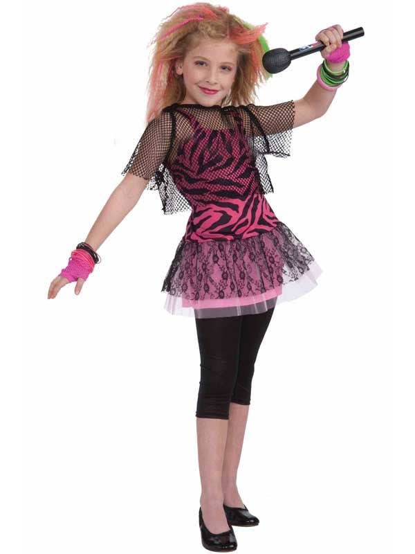 Pink and Black Girl's 80's Pop Star Costume Front View