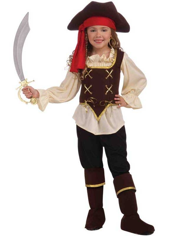 Girl's Buccaneer Pirate Costume Front View