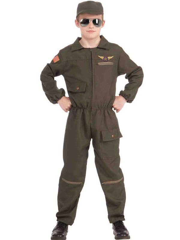 Jet Pilot Boy's Airforce Olive Green Costume Front View