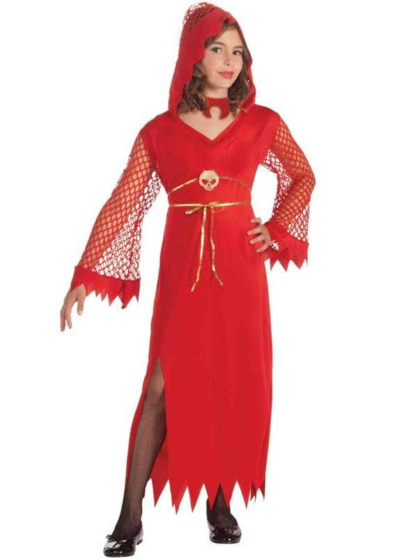 Red Devil Girl's Fancy Dress Costume Front View