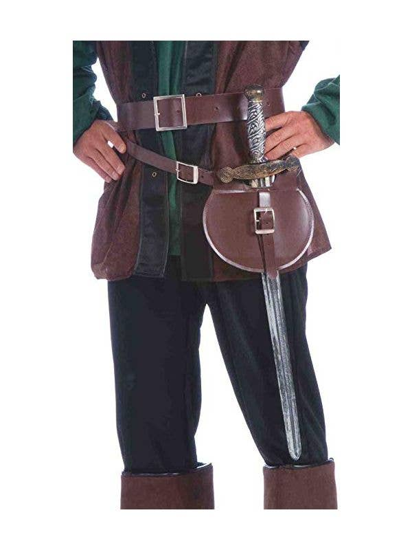 Brown faux leather double wrap belt, pouch and medieval sword costume accessory main image
