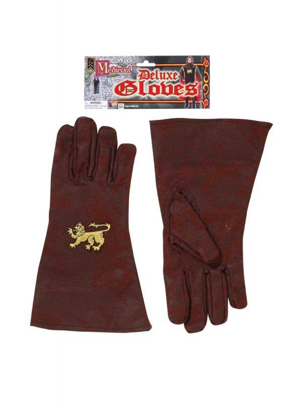 Men's Deluxe Brown Fabric Knight Gloves Main Image