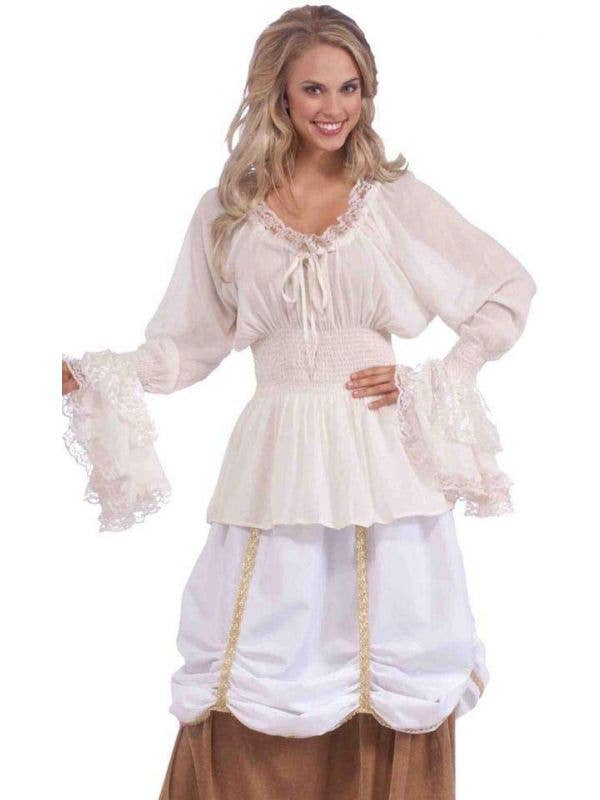 Womens Medieval White Costume Blouse Costume Pirate Shirt Front