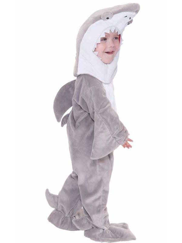 Toddler Boy's Grey Shark Animal Onesie Costume Front View