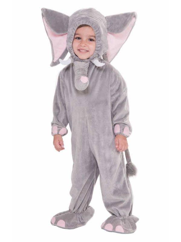 Toddler's Grey Elephant Animal Onesie Costume Front View