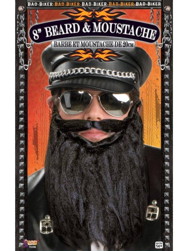 Black Biker Beard and Moustache Costume Accessory