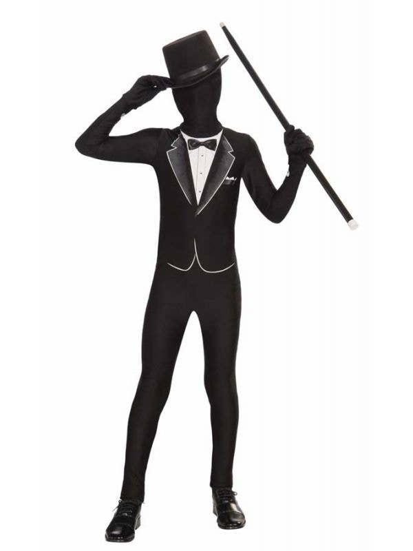 Boy's Tuxedo Lycra Skin Suit Fancy Dress Costume Front View