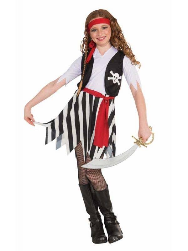 Pirate Girl's Buccaneer Fancy Dress Costume Front View