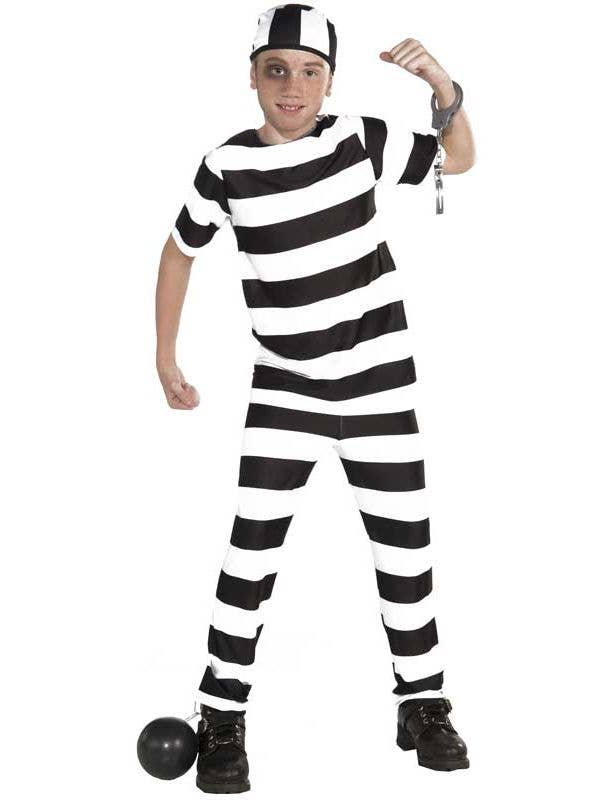 1c0fb368f0f2 Prisoner Boy s Black and White Striped Book Week Costume Front