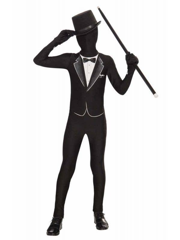 Teen Boy's Black Tuxedo Lycra Skin Suit Costume Front View