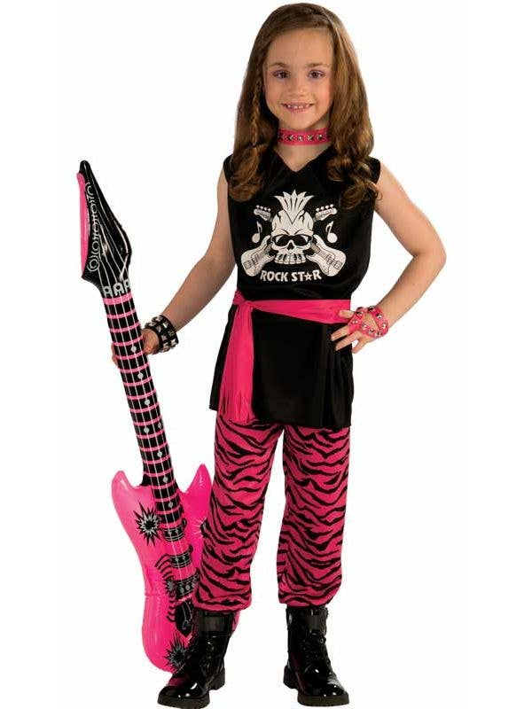 Rock Chick Girl's 1980's Pink and Black Fancy Dress Costume Front