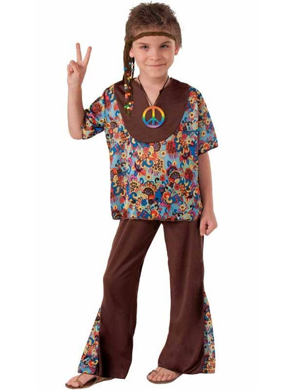 Hippie Boy's 1970's Retro Fancy Dress Costume Front View