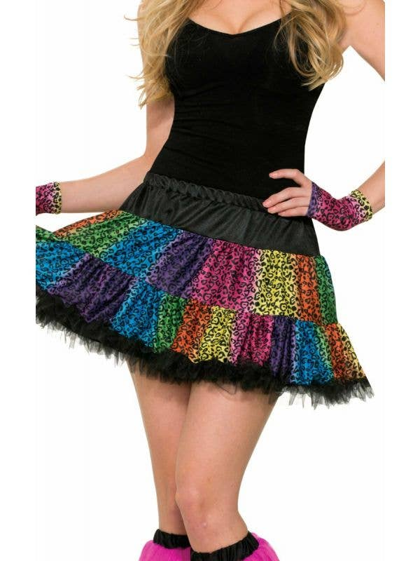 Bright Neon Rainbow And Black Leopard Print Costume Skirt 1980's Retro Theme Costume Accessory Main Image