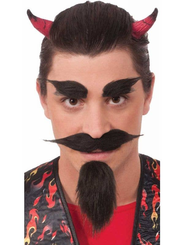 Forum Novelties devil moustache eyebrows and goatee facial hair accessory set - Main Image