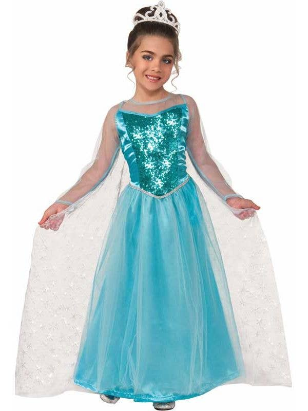 f4a93f2c1b9ca Elsa Girl's Frozen Ice Queen Blue Fancy Dress Front View