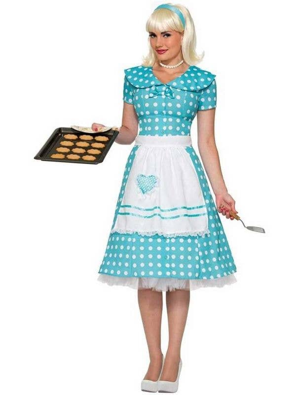 Retro 50's Women's Blue Housewife Costume Dress Front View