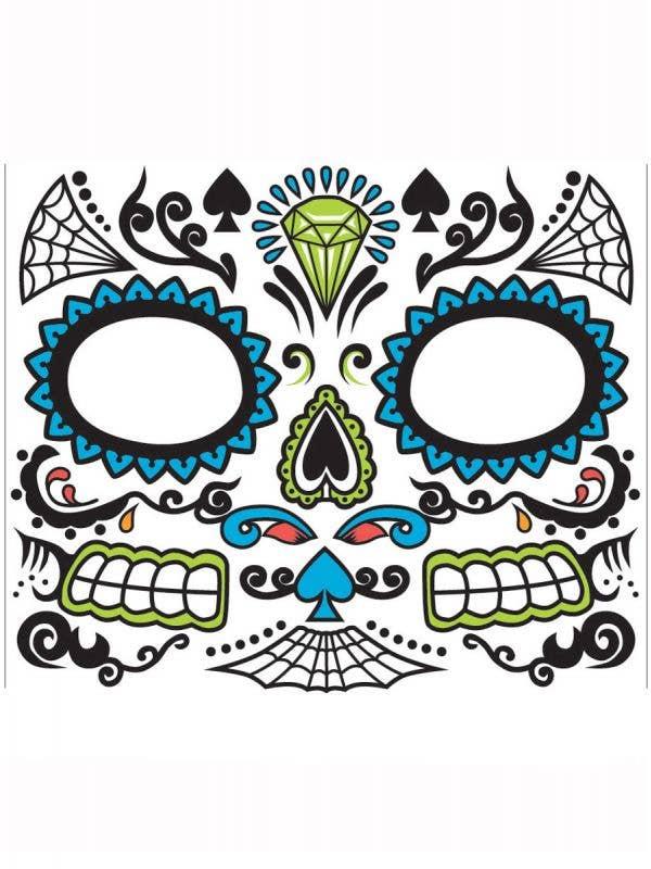 Blue Sugar Skull Mens Face Makeup Mexican Temporary Face Tattoo