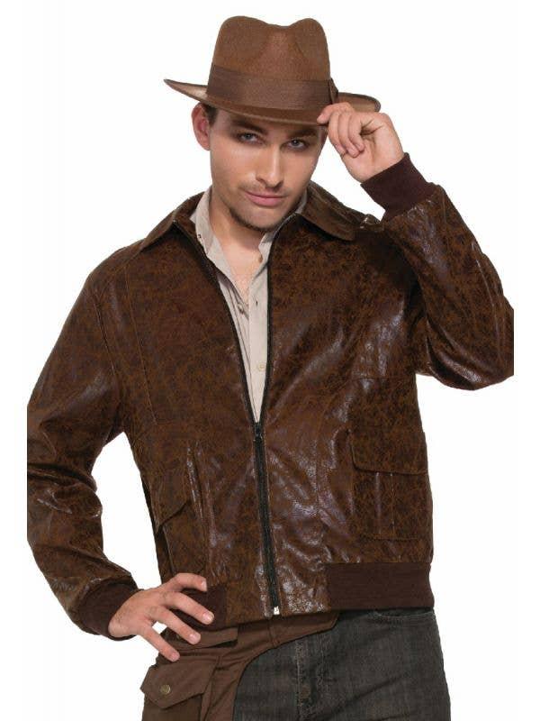 Brown Faux Suede Leather Look Maverick James Dead Men's Forum Novelties Costume Jacket Main Image