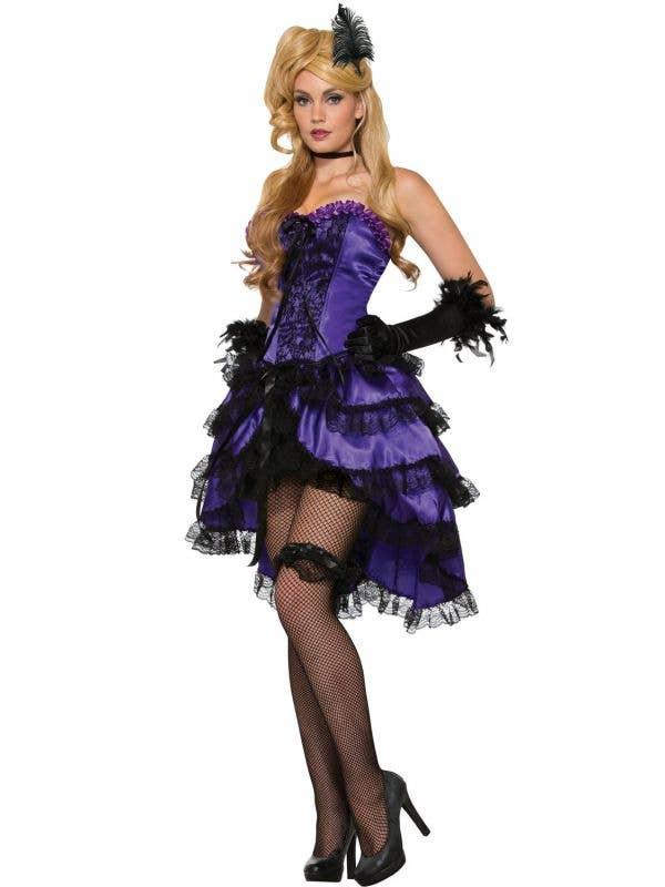 Purple Saloon Wild West Can Can dancer girl Women's costume main image