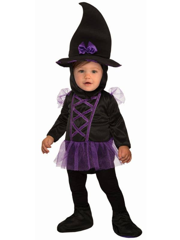Black and Purple Inface Witch Halloween Costume - Main Image