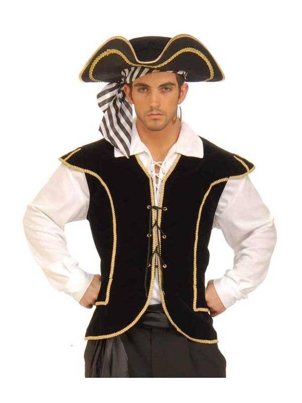 Men's Black Buccaneer Pirate Costume Vest Front