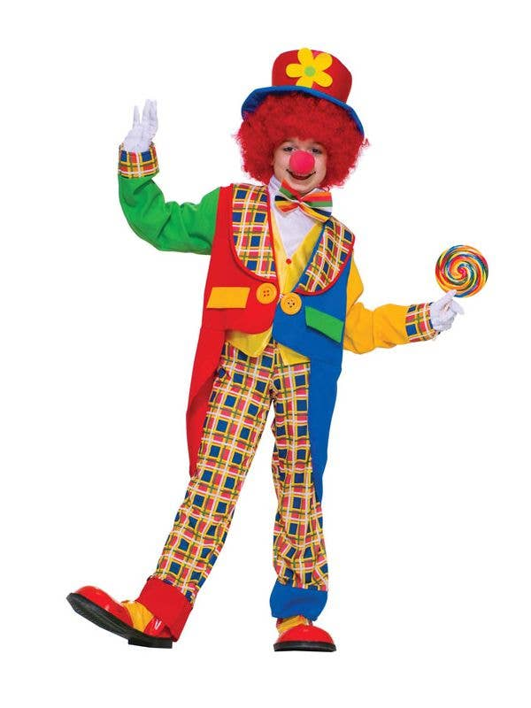 Kid's Circus Clown Rainbow Book Week Costume Front