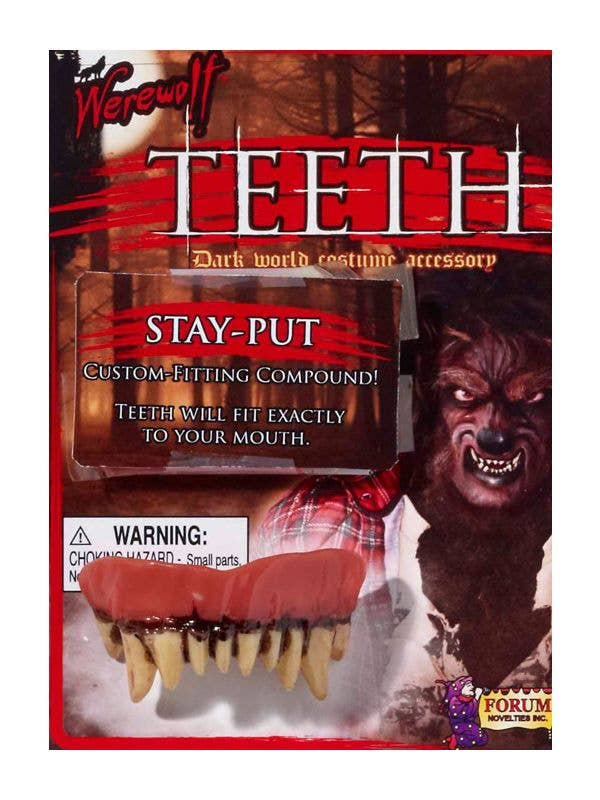 adults scary halloween werewolf custom fitting teeth and putty novelty costume fangs costume accessory main packaging