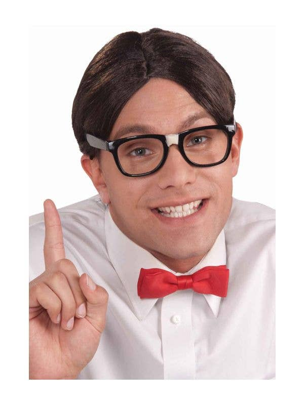 50s Dress Up Nerd Brown Costume Wig - Main Image