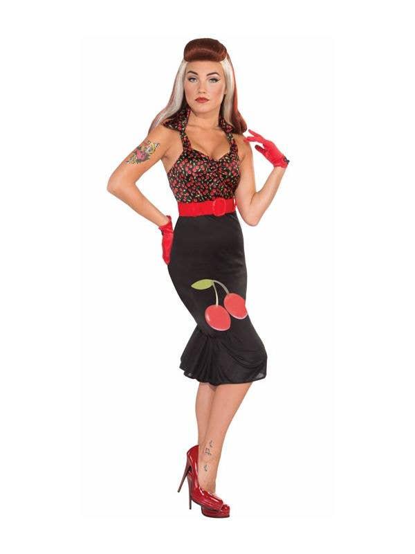 Womens Retro 1950s Black Cherry Wiggle Dress Costume Front