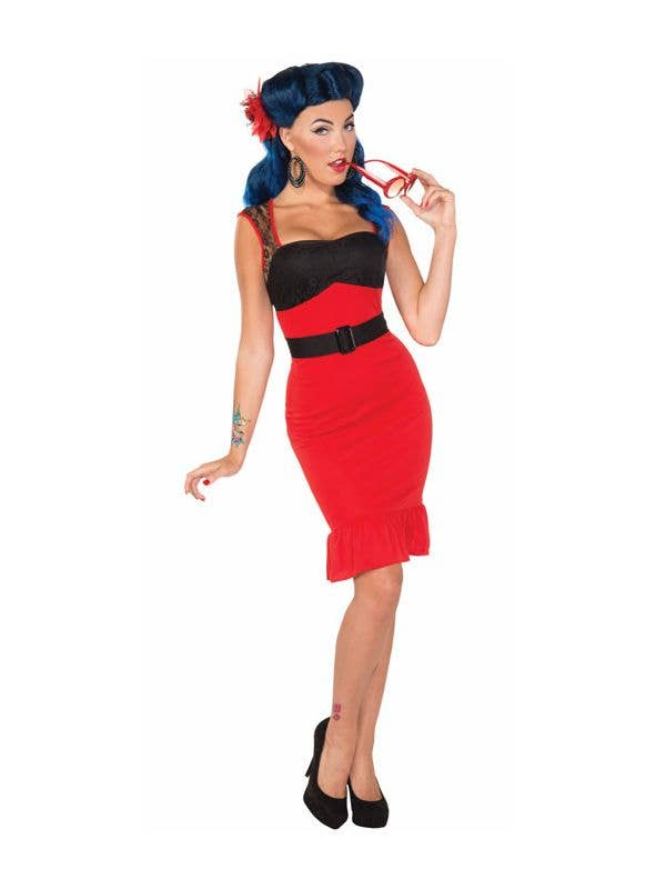 Womens Red Wiggle Dress 50s Retro Costume Front View