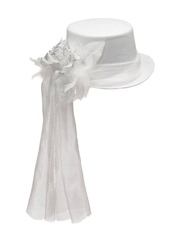 Adult's White Top Hat With Mesh Veil With Flower And Feathers Halloween Costume Hat Main Front Image