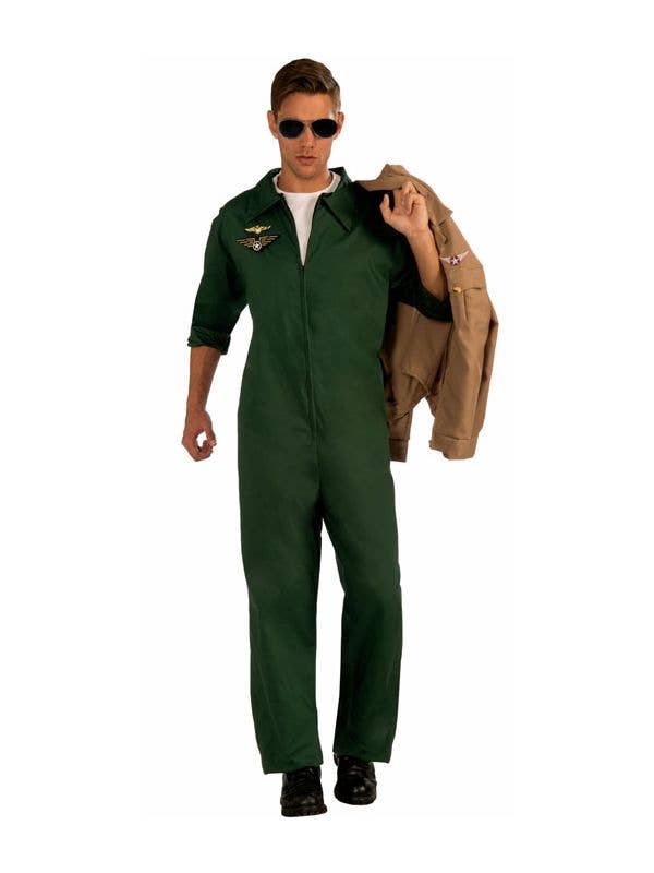 05fbf7547269 Men s Green Top Gun Flight Suit Costume Jumpsuit Front