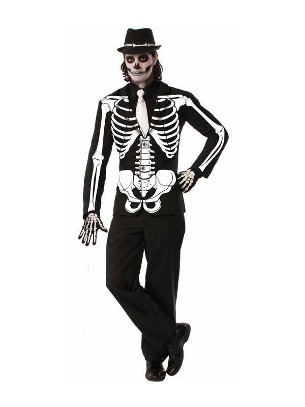 Men's Day of The Dead Skeleton Print Costume Jacket Front
