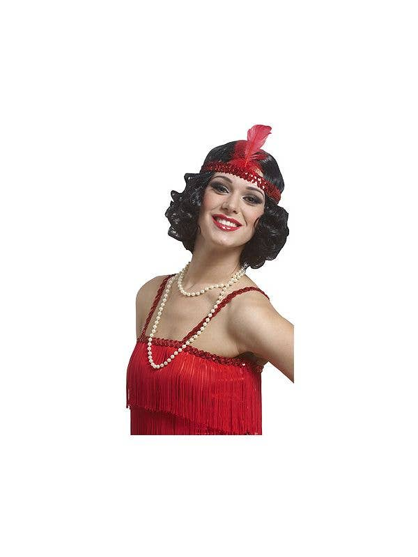 Women's Short Curly Black 1920's Flapper Wig with Red Headband  - Main Image