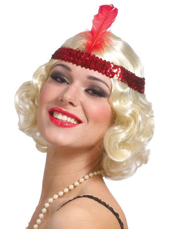 Women's Short Blonde Curly 1920's Flapper Wig with Red Headband
