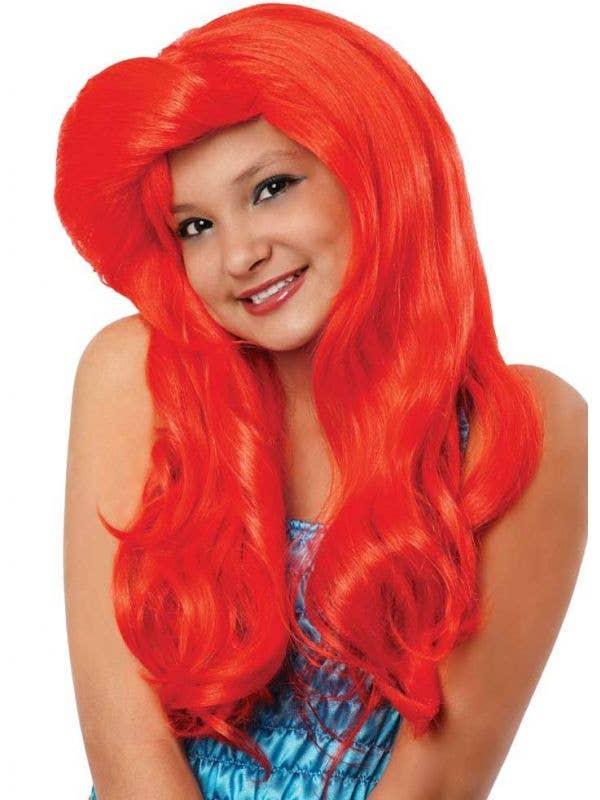 Wavy Red Mermaid Girls Costume Wig