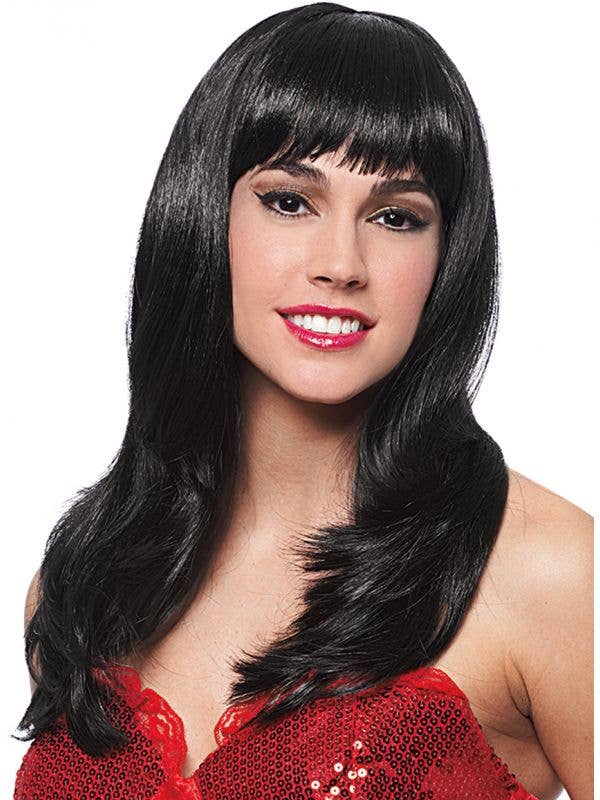 Donna women's sleek long black costume wig with fringe main image