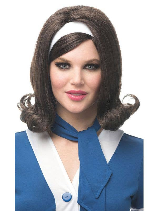 Brown 60's Flip Wig with White Headband Women's Costume Accessory Main Image
