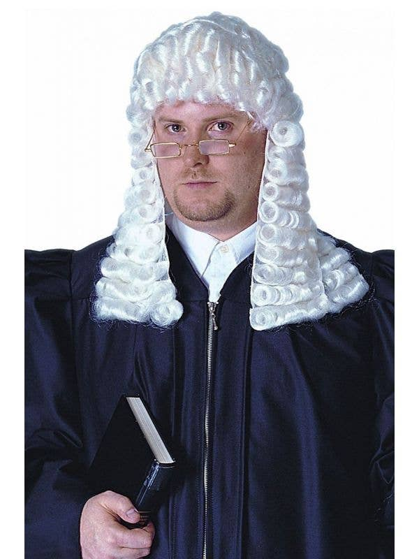 Court Judge Curly White Wig | Adult's White Judge Costume Wig